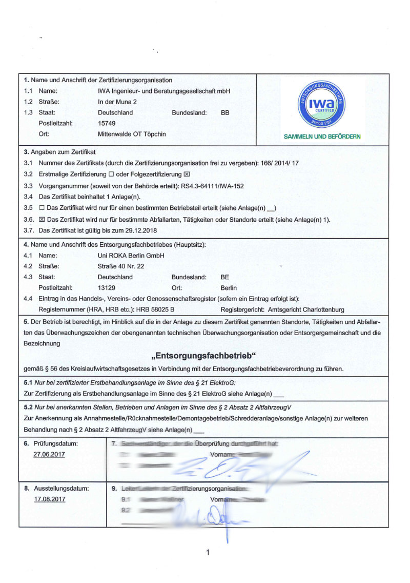 Bild Zertifikat Entsorgungsfachbetrieb