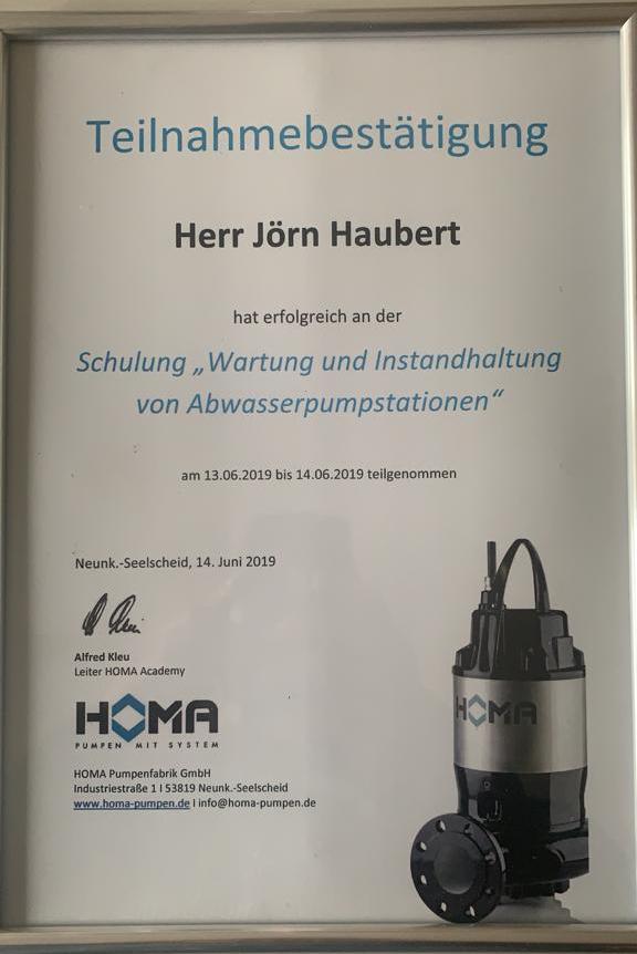 Bild Zertifikat Wartung Instandhaltung Abwasserpumpenstationen